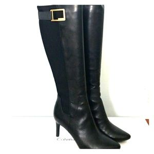 Calvin Klein Black Leather Boots S 6.5 in box